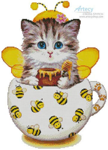 Bee Kitty Cup - Cross Stitch Chart