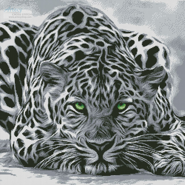 Black and White Leopard - Cross Stitch Chart