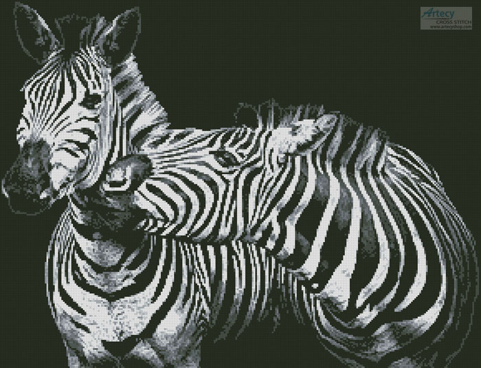 Black and White Zebras - Cross Stitch Chart
