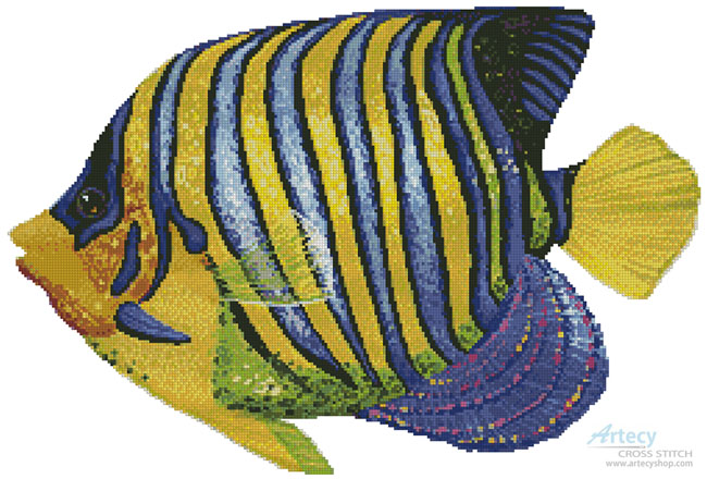 Blue and Yellow Fish - Cross Stitch Chart