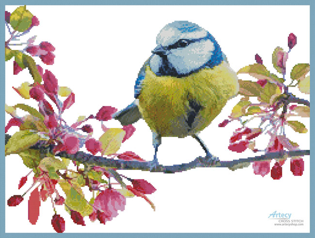 Blue Tit and Blossoms - (Facebook Group) Cross Stitch Chart