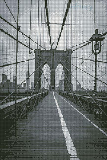 Brooklyn Bridge (Black and White) - Cross Stitch Chart