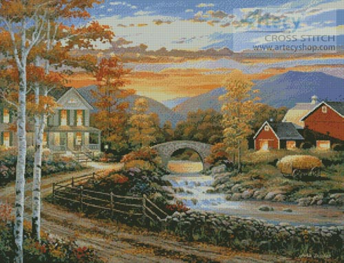 Brookside Farm at Sunset - Cross Stitch Chart
