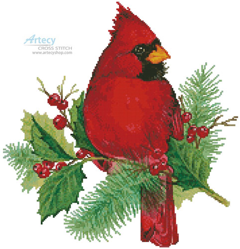 Cardinal and Holly - Cross Stitch Chart