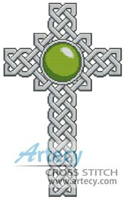 Celtic Cross August (Peridot) - Cross Stitch Chart