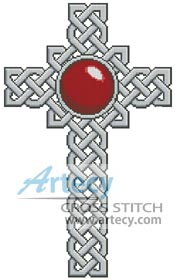 Celtic Cross January (Garnet) - Cross Stitch Chart