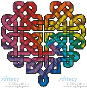 Celtic Fractal Heart - Cross Stitch Chart