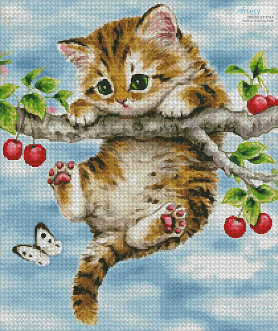 Cherry Kitten - Cross Stitch Chart