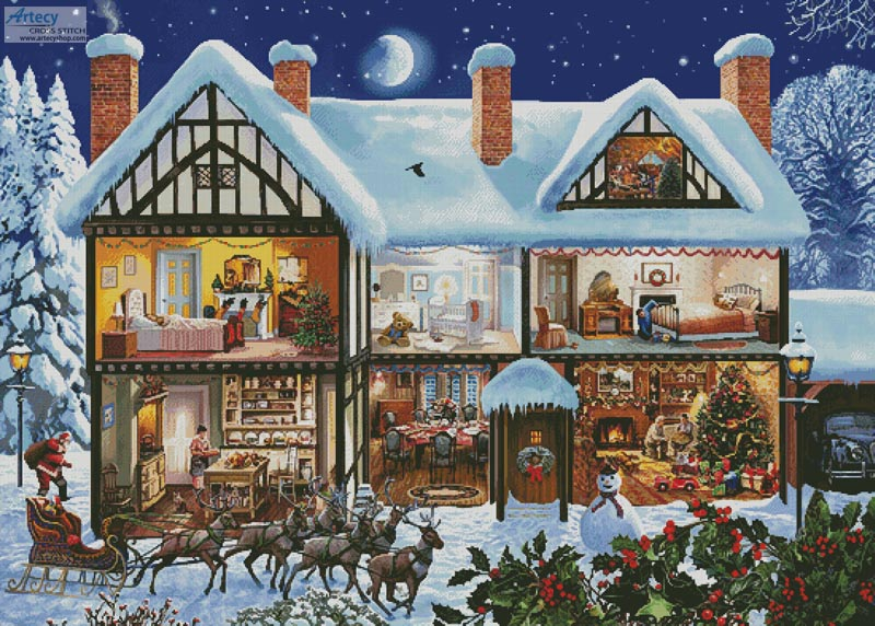 Christmas House 3 (Large) - Cross Stitch Chart