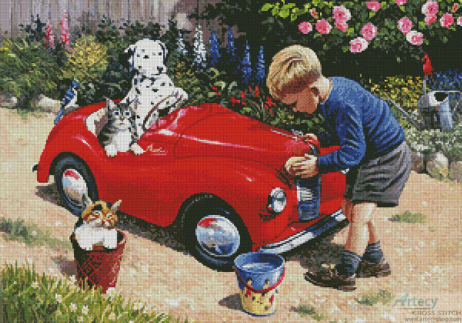 Cleaning the Car - Cross Stitch Chart
