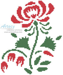 Colonial Rose - Cross Stitch Chart