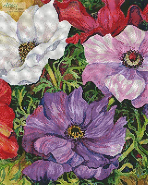 Colourful Anemones (Crop) - Cross Stitch Chart