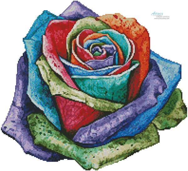 Colourful Rose - (Facebook Group) Cross Stitch Chart