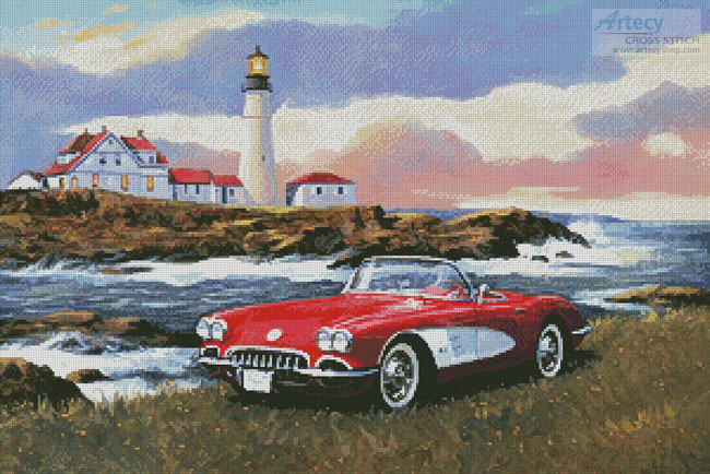 Corvette at the Coast - Cross Stitch Chart