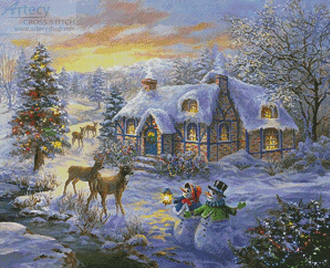 Cottage at Christmas - Cross Stitch Chart