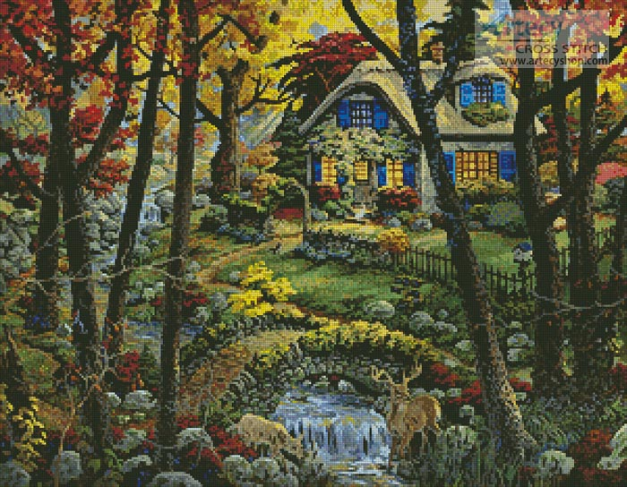 Cottage in a Forest - Cross Stitch Chart