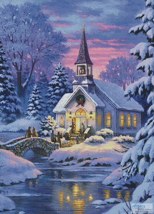 Country Church (Large Crop) - Cross Stitch Chart