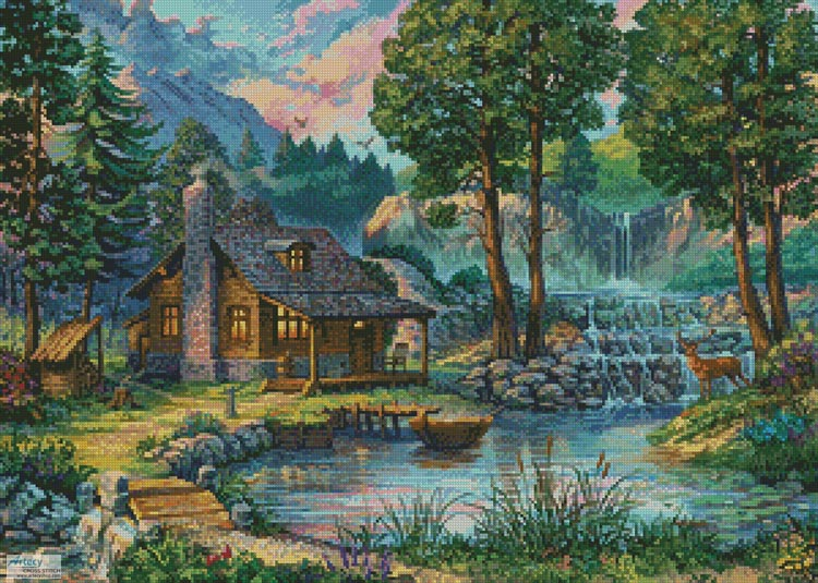 Country House by the Lake - Cross Stitch Chart