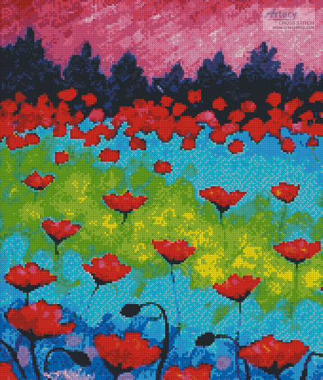 Dancing Poppies (Crop) - Cross Stitch Chart