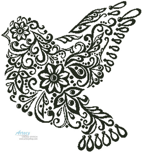 Dove Silhouette - Cross Stitch Chart
