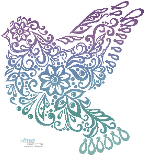Dove Silhouette (Colour) - Cross Stitch Chart