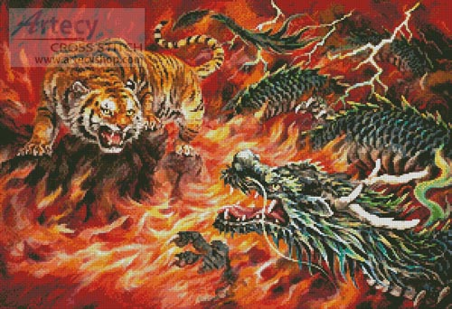 Dragon and Tiger in the Fire - Cross Stitch Chart