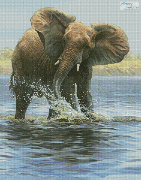 Elephant Painting - Cross Stitch Chart