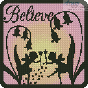 Fairy Silhouette Square 3 - Cross Stitch Chart