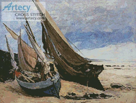 Fishing Boats on the Deauville Beach - Cross Stitch Chart