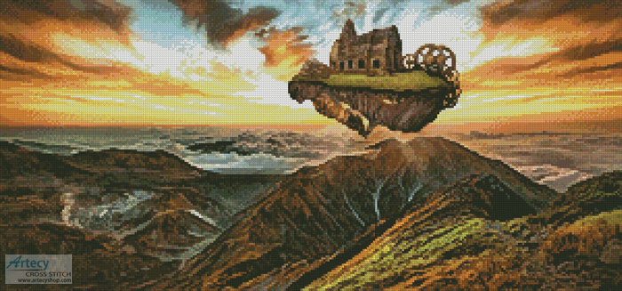 Floating Steampunk Mountain - Cross Stitch Chart
