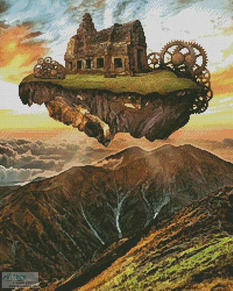 Floating Steampunk Mountain (Large Crop) - Cross Stitch Chart