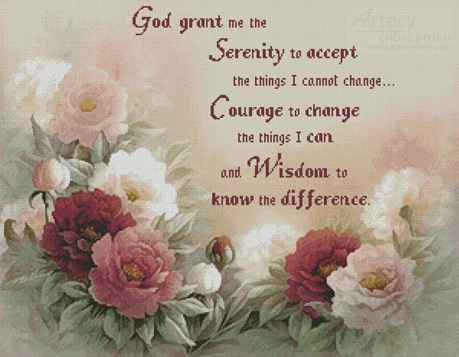 Floral Serenity Prayer - Cross Stitch Chart
