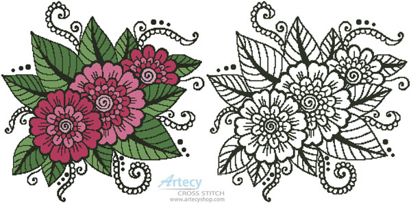 Flower Design 1 - Cross Stitch Chart