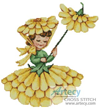 Flower Girl 1 - Cross Stitch Chart