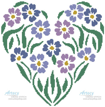 Flower Heart 1 - Cross Stitch Chart