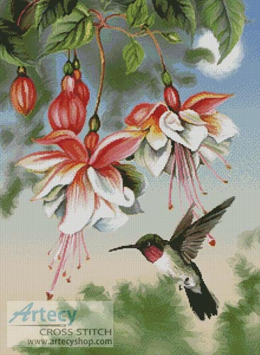 Fuschia and Hummingbird - Cross Stitch Chart
