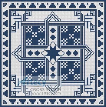 Geometric Blue and White - Cross Stitch Chart