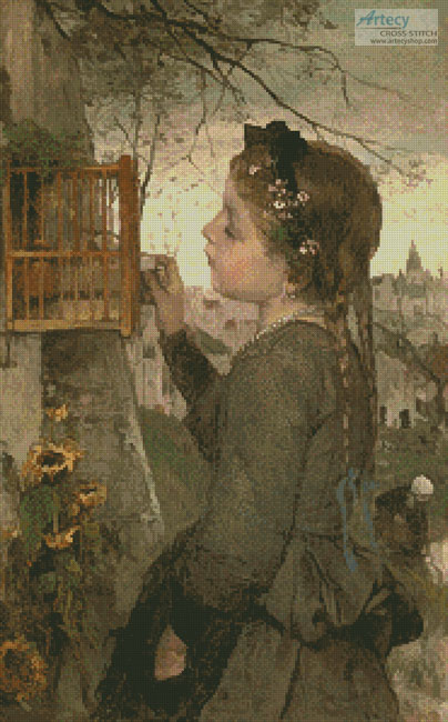 Girl Feeding a Bird in a Cage - Cross Stitch Chart