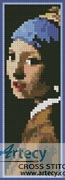 Girl with a Pearl Earring Bookmark - Cross Stitch Chart
