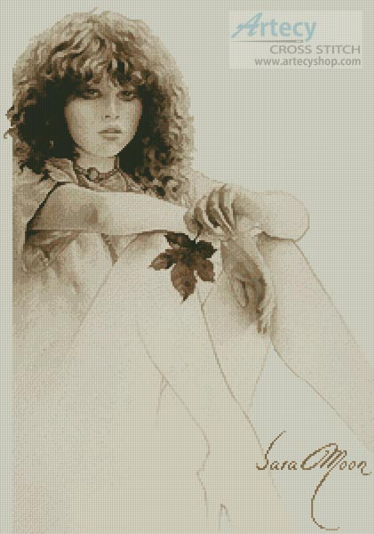 Girl with Maple Leaf - Cross Stitch Chart