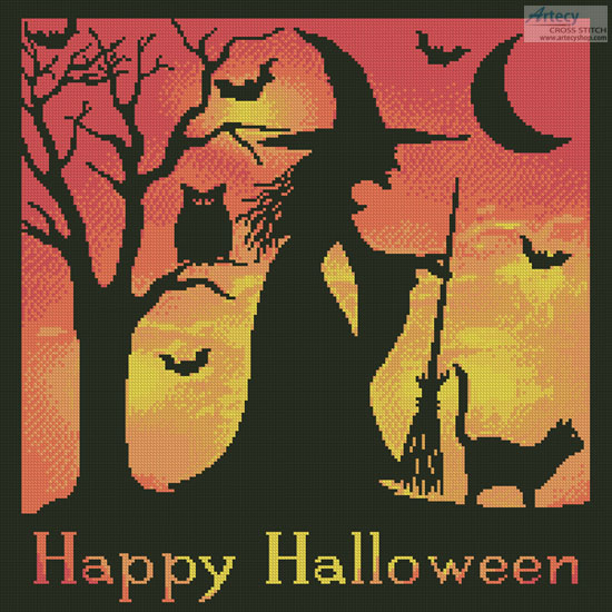Halloween Witch Silhouette - Cross Stitch Chart