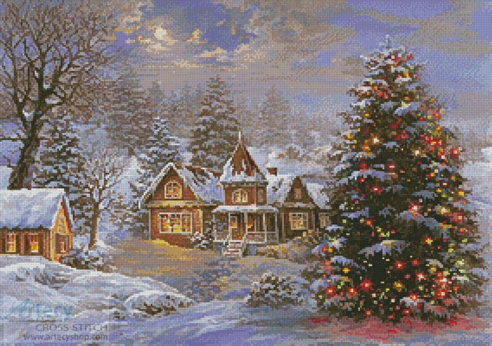 Happy Holidays Painting - Cross Stitch Chart