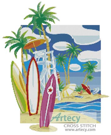 Hawaiian Beach - Cross Stitch Chart