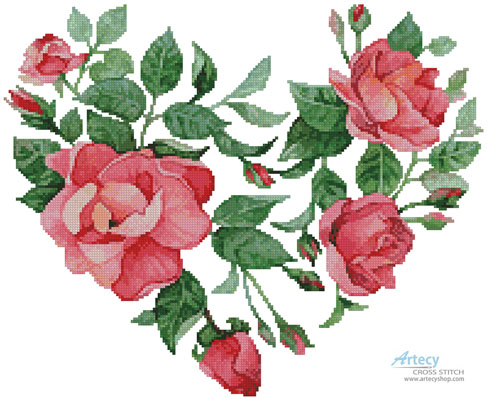 Heart of Roses - (Facebook Group) Cross Stitch Chart