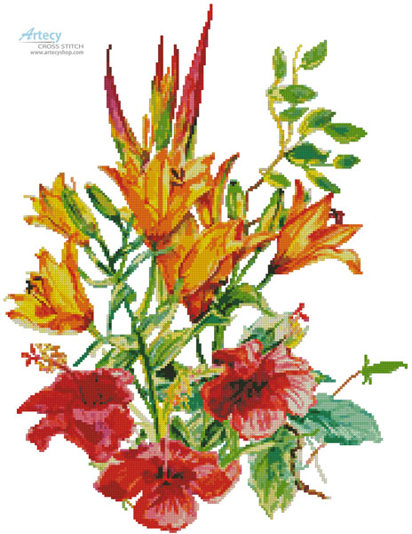 Hibiscus and Daylilies (No Background) - Cross Stitch Chart