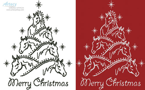 Xmas Tree Cross Stitch Pattern Holidays Red Barn With Horse