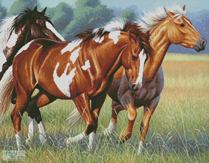 Horses Running - Cross Stitch Chart