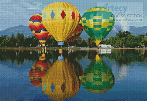 Hot Air Balloons Reflection - Cross Stitch Chart