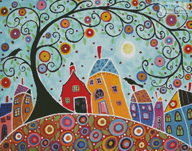 Houses, Barn, Birds and Swirl Tree - Cross Stitch Chart