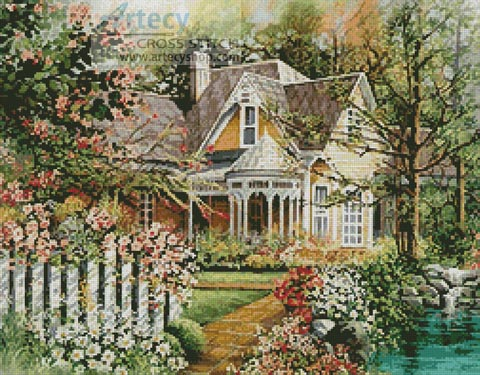 House with Picket Fence - Cross Stitch Chart